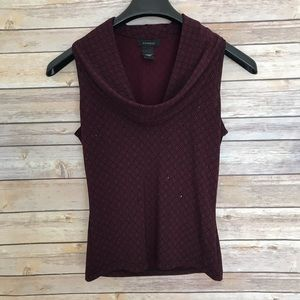 Express Maroon Black Cowl Neck Sleeveless Top S